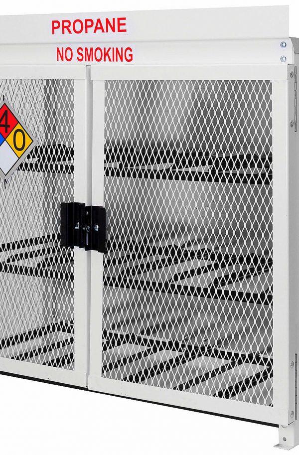 Steel 12 Forklift Propane Cylinder Cage. Forklift Propane Cage for 12 forklift propane cylinders in steel. 33.5lb or 43.5lb sizes. Steel twelve 43.5lb Propane Cylinder Cage. Propane Cages Sale