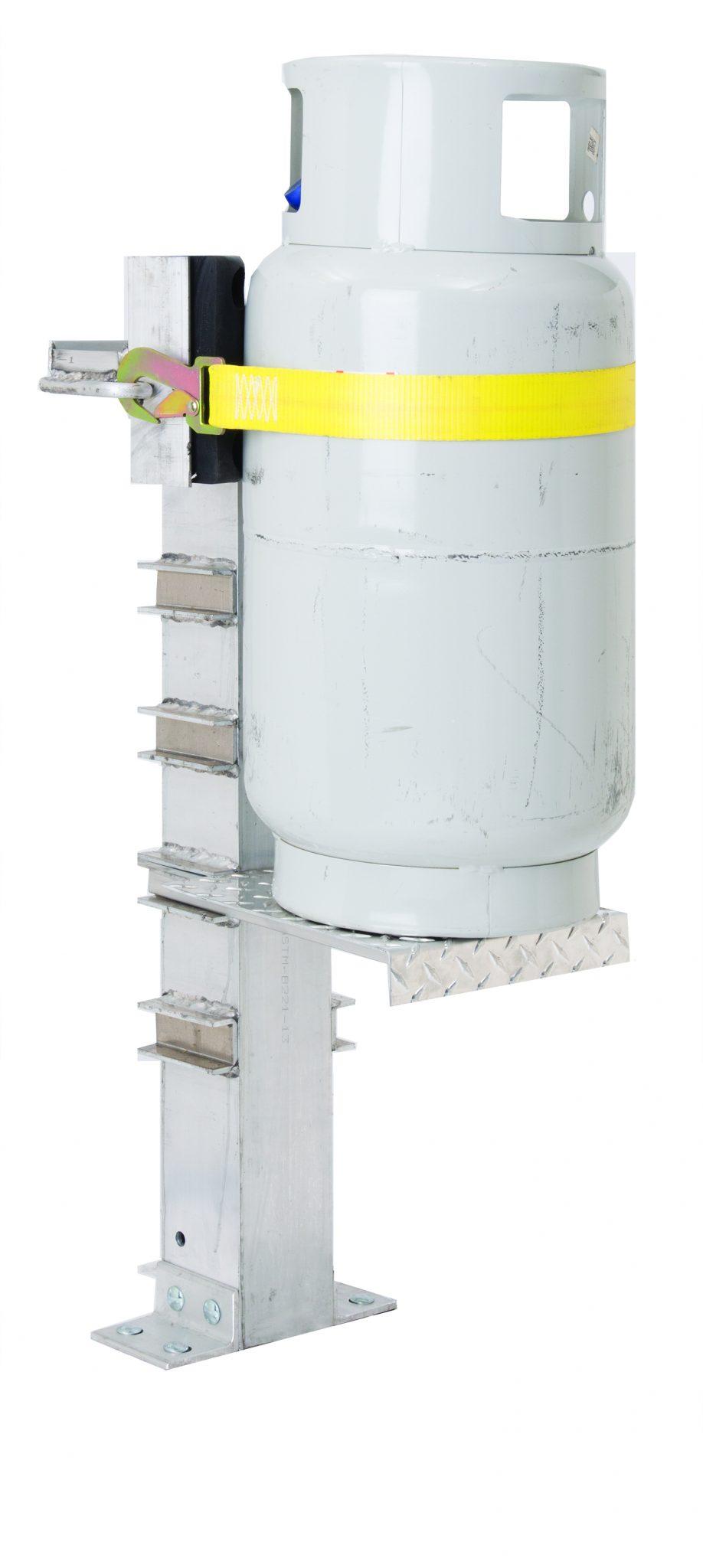 Propane cylinder service vise for servicing valves.